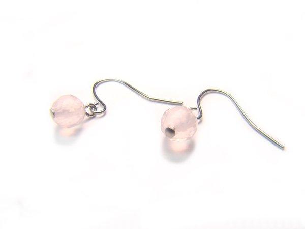 ERQXRS0800C Rose Quartz Round Shape 6mm Cut Earrings