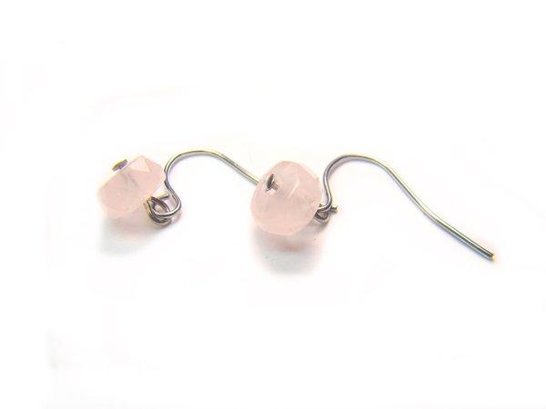 ERQXSP0900X Rose Quartz Wheel Shape 4x7mm Cut Earrings