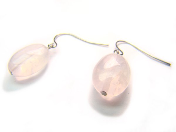 ERQXAP1000X Rose Quartz Oval Shape 10x13mm  Earrings