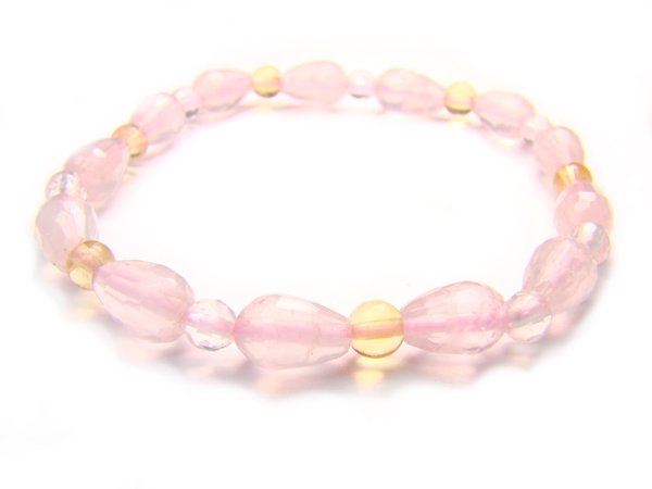 BA9862 Rose Quartz Citrine Clear Quartz Bracelet 7