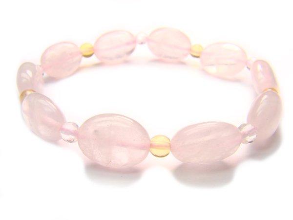 BA9859 Rose Quartz Citrine Clear Quartz Bracelet 13