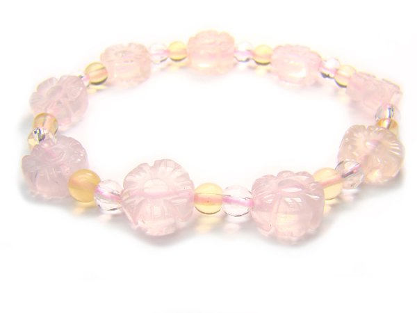 BA9860 Rose Quartz Citrine Clear Quartz Bracelet 14