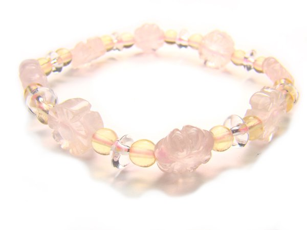 BA9863 Rose Quartz Citrine Clear Quartz Bracelet 15