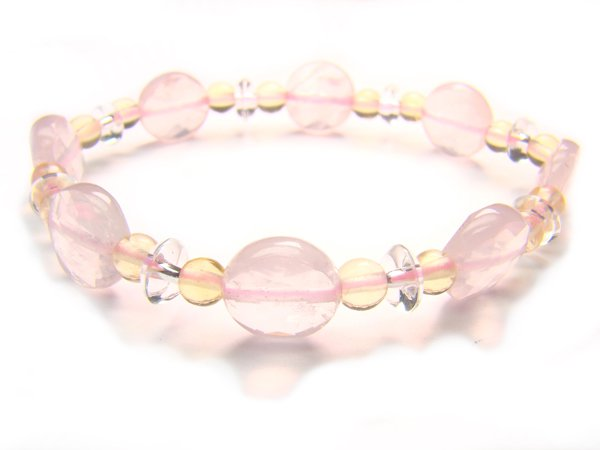 BA6965 Rose Quartz Citrine Clear Quartz Bracelet 16
