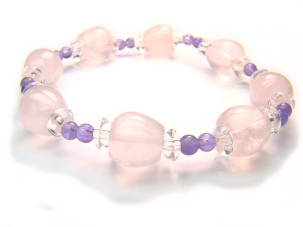BA9970 Rose Quartz Amethyst Clear Quartz Bracelet 8