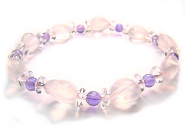 BA9997 Rose Quartz Amethyst Clear Quartz Bracelet 11