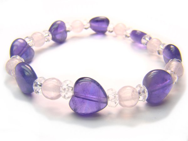 BA9963 Rose Quartz Amethyst Clear Quartz Bracelet 25
