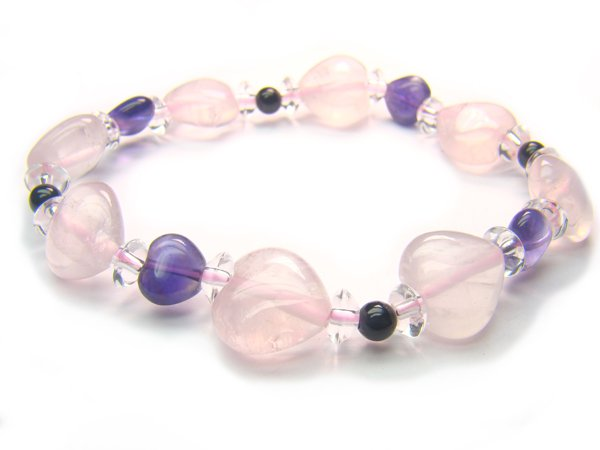 BA9974 Rose Quartz Onyx Amethyst Clear Quartz Bracelet 5