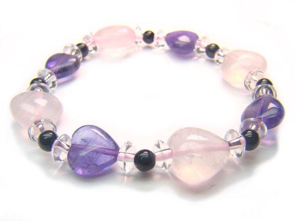 BA9975 Rose Quartz Onyx Amethyst Clear Quartz Bracelet 6