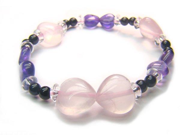 BA9998 Rose Quartz Onyx Amethyst Clear Quartz Bracelet 8