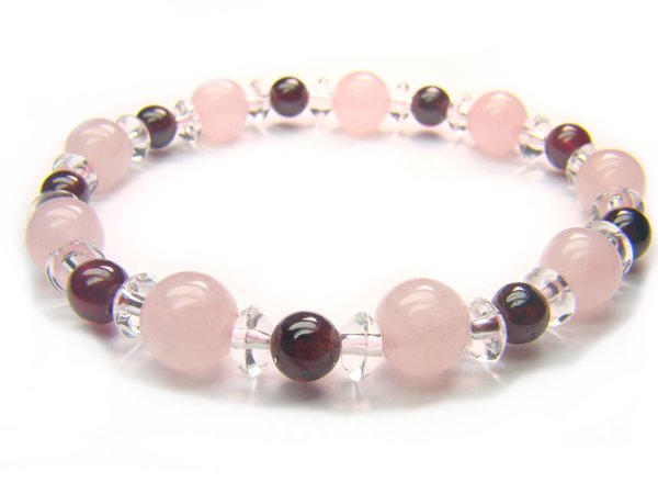 BB51 Rose Quartz Garnet Clear Quartz Bracelet 5