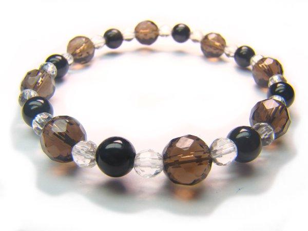 BB69 Smoky Quartz Onyx Clear Quartz Bracelet 3