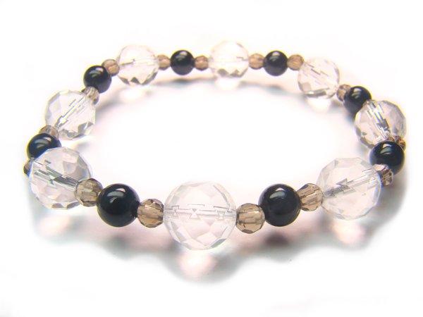 BB56 Smoky Quartz Onyx Clear Quartz Bracelet 7