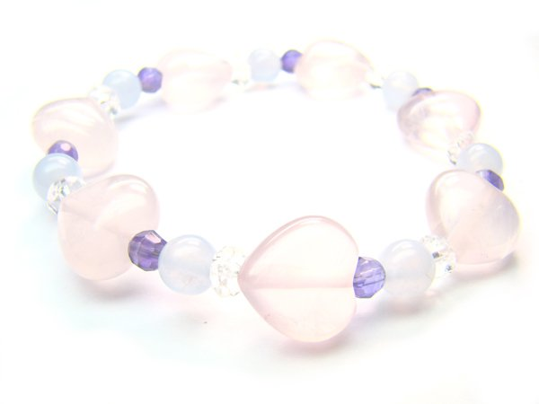 BB90 Blue Lace Agate Clear Quartz Rose Quartz Smoky Quartz Bracelet 8