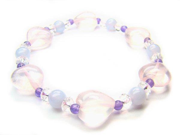 BB91 Blue Lace Agate Clear Quartz Amethyst Rose Quartz Bracelet 9