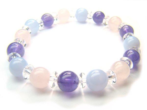 PA1620 Blue Lace Agate Clear Quartz Amethyst Rose Quartz Bracelet 10