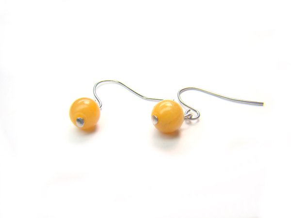 EYJXRS1000X Yellow Jade Round Shape 6 mm Earrings
