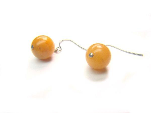 EYJXDO0610X Yellow Jade Round Shape 10 mm Earrings