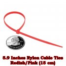 100 pcs. at 5.9 Inches. Pickish-Red Nylon Cable Ties (15 cm)