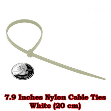 100 pcs. at 7.9 Inches. White Nylon Cable Ties (20 cm)
