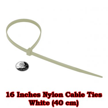 20 pcs. at 16 Inches. White Nylon Cable Ties (40 cm)