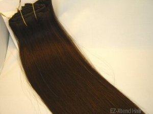 "100% Remy human hair clip on (Silky Straight 12"",#1b)"