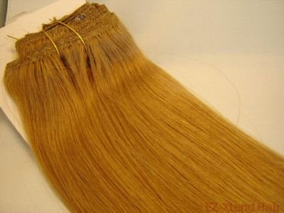 """100% Remy human hair clip on (Silky Straight 12"""", #14) 7pcs. per set"""