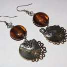 Brown Foil Lined Earrings