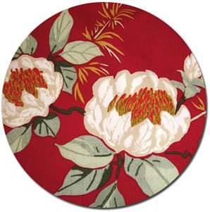 White Petals Fabric - Red