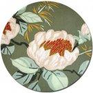 White Petals Fabric - Green