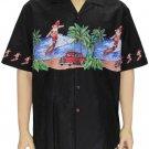 Men's Shirt - Santa Claus Surfing - Black  2XL-4XL