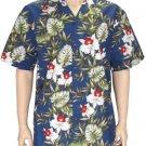 Hanohano - Cotton Aloha Shirt - Navy   2XL - 4XL