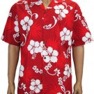 Hibiscus - Cotton Shirt - Red  2XL - 3XL