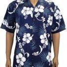 Hibiscus - Cotton Shirt - Navy 2XL - 3XL