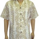 Cream Print Shirt - FLower Leis  6XL - 8XL