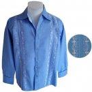 Linen Long Sleeve Guayabera Shirt - Royal Blue/White