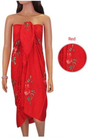 Hawaiian Hibiscus Sarong - Red