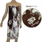 Sarong - Brown & White Hibiscus