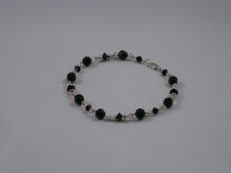 Black Swarovski Crystal Bracelet - S134B
