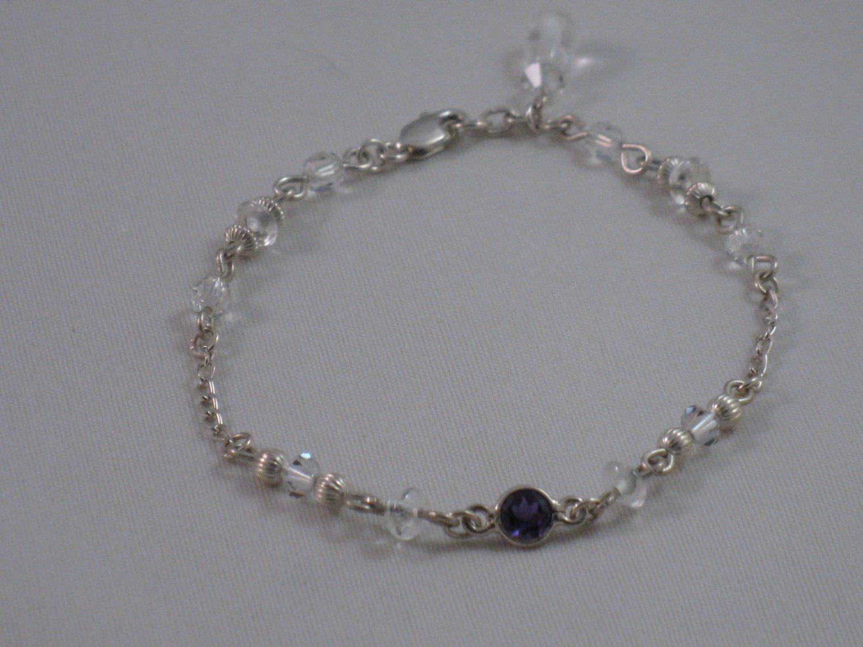 Amethyst, Rock Crystal, Swarovski Crystal Bracelet - S103B