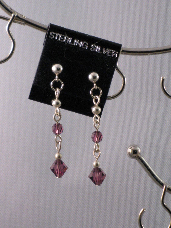 Purple Swarovski Crystal Earrings - S121C