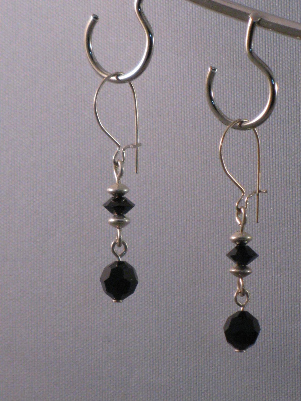Black Swarovski Crystal Sterling Silver Earrings - S100C