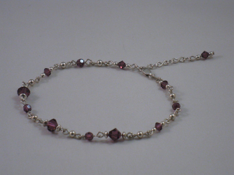 Purple Swarovski Crystal Anklet - S121D