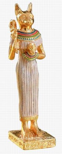 PEWTER-EGYPTIAN BASTET FIGURINE (6224s)