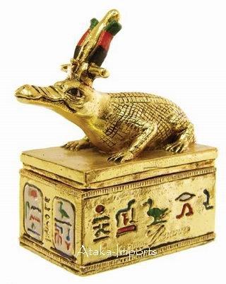 PEWTER-EGYPTIAN SOBEK  FIGURINE (6233)