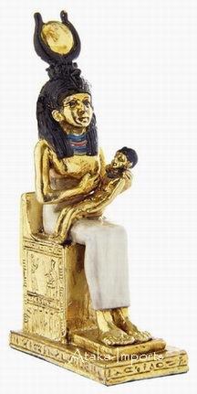 PEWTER-GODDESS ISIS & HORUS FIGURINE (6246)