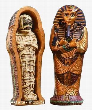 EGYPTIAN KING TUT COFFIN  with MUMMY FIGURINE (6124)