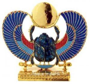 PEWTER-EGYPTIAN WINGED SCARAB FIGURINE (6227)