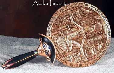 EGYPTIAN AEGIS HAND MIRROR -UNIQUE (5785)