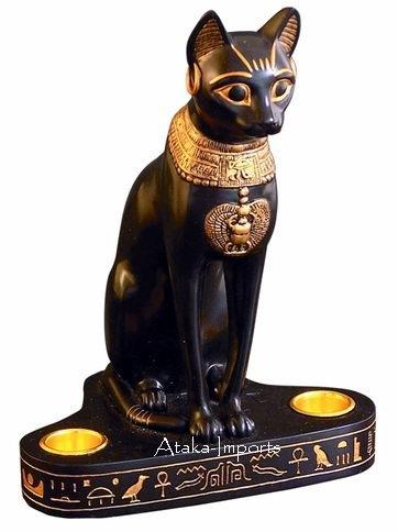 BAST-EGYPTIAN BASTET DOUBLE CANDLEHOLDER (6112)